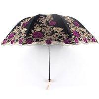 paraguas plegable doble negro al por mayor-UV Tres veces plegable Mujer de Lujo de Encaje de Doble capa Bordado Paraguas Lluvia Mujer Nuevo Negro Goma Anti-UV Paraguas Z516