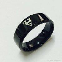 anillos geniales para chicas al por mayor-2018 Cool boys girls 8mm Acero al carbono negro superman hero S anillos para hombres mujeres alta calidad EE. UU. Tamaño 6-14