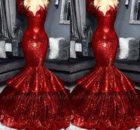 lange rüsche funkeln prom kleider großhandel-Sparkle Red Pailletten Abendkleider 2019 Neue Ankunft Echt Bild Schatz Meerjungfrau Tier Rüschen Rock Lange Prom Vestidos BC1309