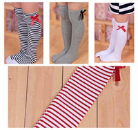 Wholesale bow socks for girls for sale - Group buy Baby girl princess knee warm long stocking with bow children solid striped long socks for years girls
