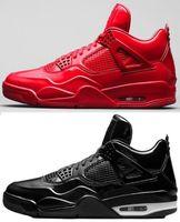 черные кожаные ботинки баскетбола оптовых-Лучшее качество 2019 4S 11Lab4 Красная лакированная кожа Баскетбол обувь Мужчины 4 11Lab4 Черные спортивные кроссовки с коробкой