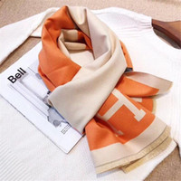 Wholesale autumn color scarves resale online - New autumn winter two sided two color fashion letters high end thickened scarf dual purpose shawl warm neck in colors