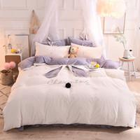 Wholesale pink girls bedding full online - White Pink Gray Fleece Warm Bedding Set Twin Queen King Size Bed set Duvet Cover Girls Bed sheet Rubber Fitted sheet set