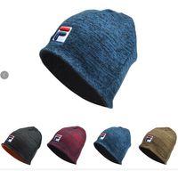 Wholesale knit crochet hats resale online - Unisex FA Knitted Hats Fils Beanie Winter Fleece Double Knit Hat Skull Cap Men Women Crochet Hat Knitting Caps Fedora Muff Brand