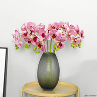 Wholesale butterfly branches resale online - Real touch artificial head branch butterfly orchid office home Christmas wedding decor PU artificial flower display pot orchid