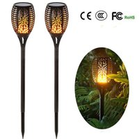 Wholesale solar 12v led street lights for sale - Group buy Solar Torch Light Outdoor Lighting Waterproof Landsacpe Decoration Solar LED Torches Garden Lights with Flame Effect