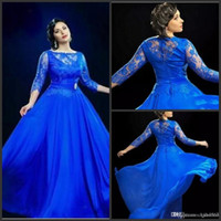 Wholesale plus size evening dresses uk resale online - 2019 New Design Formal Royal Blue Sheer Evening Dresses With Sleeved Long Prom Gowns UK Plus Size Dress For Fat Women Vestido De Noiva