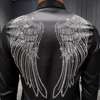 Wholesale rhinestone fitted dress resale online - 2019 Men Shirt Designer Rhinestone Wing Long Sleeve Casual Slim Fit Dress Shirts Black White Streetwear Camisa Social Masculina