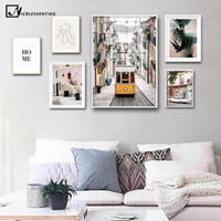 Wholesale house wall posters for sale - Group buy Yellow Bus Old Street House Vintage Poster City Landscape Nordic Art Canvas Print Painting Wall Picture Modern Home Decoration