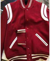 ingrosso giacche per-Giacca Teddy rossa GIACCA VARSITY LANA Pelle bianca