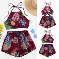 ingrosso i bambini allentano i pantaloni floreali-Kids Girl Party Summer Top Vest Floral Short Pant Abiti Plant Ananas Bandage Top + Short sciolti Set
