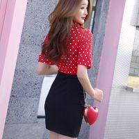 Wholesale costume fashion sexy women red online - 2019 summer sexy fashion temperament wrap buttock skirt false two low cut shirt skirt slim slim nightclub dressA1