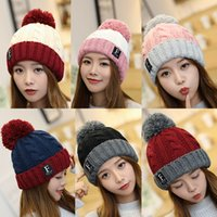 Wholesale crochet knit hat resale online - Korean Winter Big Girls Knitted Hat Warm Pom Pom Big Fur Ball Wool Hat Patchwork Color Teenager Skull Beanie Solid Crochet Outdoor Cap M595