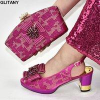 bayanlar ayakkabı çanta takımları toptan satış-Yeni Kadınlar İtalyan Afrika Parti Ayakkabı ve Çanta Kristal Düğün Eşleştirme Çanta Set ile Blok Topuk Ayakkabı Bayanlar pompaları