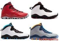 özgürlük basketbol ayakkabıları toptan satış-Yeni 10 10s erkek basketbol ayakkabıları Çelik Gri siyah beyaz Powder Blue Lady Liberty Chicago GS Fusion Kırmızı Bobcats açık spor ayakkabıları bize 8-13