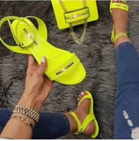 ingrosso piatta sandalo legato-Women summer beach sandals flats shoes High Quality PU plus size one-strap open toe candy sandalias mujer sapato feminino MX200620