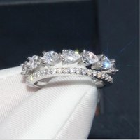 Wholesale simple bridal jewelry sets resale online - New Arrival Sparkling Simple Fashion Jewelry Real Sterling Silver Water Drop White Topaz CZ Diamond Women Wedding Bridal Ring Gift