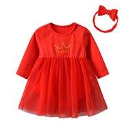 ingrosso pagliaccetto di compleanno della bambina-Moda Autunno Cotone Neonate Abiti rossi Abiti Tute Pagliaccetto Compleanno Principessa Abiti con corona Abiti con fascia per capelli