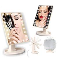косметическое складное зеркало оптовых-Портативный сенсорный экран LED зеркало для макияжа Косметическое зеркало с 16 22 светодиодные фонари складной красоты регулируемая столешница 360 вращающийся