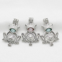 Silver Creative Frog Pearl Cage Pendant for DIY Essential Oil Diffuser Necklace Making Charms Perfume Aroma Jewelry