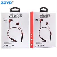 Wholesale samsung headphones retail packaging online – ZZYD M8 Wireless Bluetooth Headphones Sports Stereo Magnetic Earphone Neckband Headset with Mic For IP Samsung Android With Retail Package