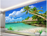 Wholesale mediterranean landscaping paintings for sale - Group buy WDBH d wallpaper custom photo Seashore coconut tree seagull landscape room painting Home decor d wall muals wall paper for walls d