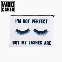 weiße organisatoren großhandel-Lashes weiß 3D-Druck einfach Make-up Tasche neceser, die kosmetischer Fall Frauen trousse de maquillage Organisator Bleistift Fall kümmert sich