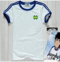 ropa de algodón japonés al por mayor-Camisas de los hombres de átomo Oliver con el número 10, Oliver y Benji, un átomo de algodón azul de fútbol ropa japonesa de los hombres blancos