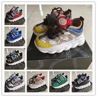 designer sneakers para meninas venda por atacado-Versace Chain Reaction Cross Chainer Designer Da Marca Sapatas Dos Miúdos Do Bebê Da Criança Sapatos de Corrida Kanye West 350 Tênis de Corrida V2 CriançasRapazes Meninas Beluga