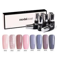 nägel polnischen stil großhandel-Modelones 8Pcs / Lot DIY Nagelgelpoliermittel Französisch Stil UV-Gel-Nagellack-Set tränken weg grau Serie Lack Nude Farbe
