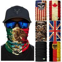 bayrak maskesi toptan satış-66 Stilleri Meksika Ulusal Bayrak Dikişsiz Kafatası 3D Sihirli başörtüsü Sürme Başlık Maske Yaka Güneş Kremi Balıkçılık Kamuflaj Yüz Maskesi ZZA891