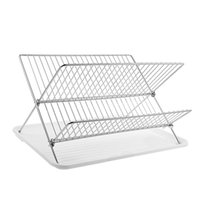 Wholesale chrome plated jewelry resale online - Deluxe Chrome Plated Steel Foldable X Shape Tier Shelf Small Dish Drainers with Drainboard