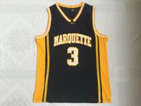 vadear baloncesto al por mayor-NCAA Hombres Camisetas de baloncesto baratas 3 Dwyane Tyrone Wade MARQUETTE College Jersey camisetas cosidas Tamaño S-XXL