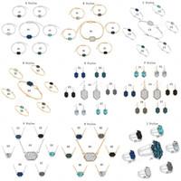 baumelnde halsketten groihandel-14 Art Druzy Stein Halskette Ohrringe Armband-Ringe für Frauen Geometrische Naturstein Designer Luxuxschmucksachen