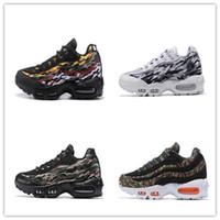 imprimir zapatos corriendo al por mayor-2019 New nike air max 95 ERDL Trainers Zapatillas de running para hombre Multi-Color Camo Print White Black Men 95s Sports Sneakers envío directo