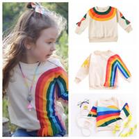 Wholesale fashion cartoon girls t shirt for sale - Group buy kids Rainbow Printed Tassels T shirt Baby Girls Sweater Long Sleeved Hoodie cartoon Autumn Winter Kids Clothing top FFA1414