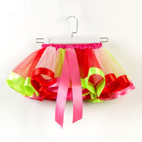Wholesale novelty christmas cakes resale online - Ballet kilt Colors Baby Girls Tutus Rainbow Color Girl Tutu Skirts With Bow kids Mesh Cake Layer Performa Dresses EEA341