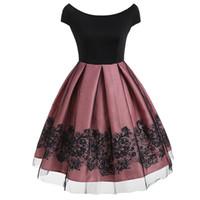 lace pink midi dress großhandel-Frauen Midi Kleider Casual Vintage Rosa Süße Plus Größe 4XL Lose Reißverschluss Spitze England Stil Weibliche Elegante Retro Weiß Kleid