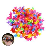 kelebek saç tırnağı toptan satış-100 adet / takım Çocuklar Saç Pençeleri Karışık Renk Kelebek Ayçiçeği Kalp Yıldız Şekli Mini Bebek Çocuk Saç Klipler Aksesuar HHA623