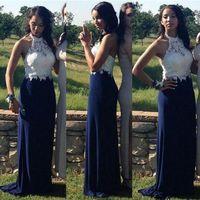 robe de demoiselle d'honneur en dentelle blanche achat en gros de-2019 nouveau blanc marine bleu longue robe de demoiselle d'honneur robe en mousseline de soie junior bal de finissants soirée de mariage demoiselle d'honneur robe porter plage pas cher