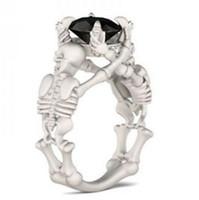 mulheres do anel de esqueleto venda por atacado-Designer de jóias anéis de caveira zircon sólido anéis de Esqueleto para as mulheres special hot fashion livre de transporte
