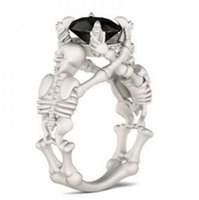 Wholesale designer leather jewelry for sale - Group buy designer jewelry skull rings black zircon solid Skeleton rings for women special hot fashion free of shipping
