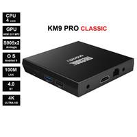 google tv boxes venda por atacado-Google Certified KM9 PRO ATV calssic 2GB / 16GB Android 9 Amlogic S905X2 Quadcore Suppot 4k 2.4G WIFI Smart TV Box