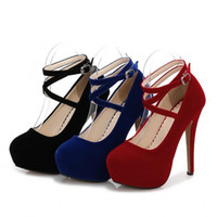 Wholesale blue suede dresses for sale - Designer Dress Shoes Muqing High Heels Suede Pumps Thick Heels Womens Party Evening Spring Autumn Buckles Ankle Strap