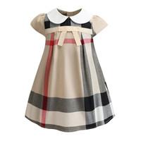 vestido xadrez verão menina venda por atacado-Famosa marca xadrez crianças clothing mangas verão baby girl roupas a linha de vestidos da menina princesa dress vestidos frete grátis