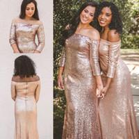 vestido sin espalda brillo coral al por mayor-Sparkle Rose Gold Sequins Vestidos de dama de honor País Bosque Bodas Sirena Sin respaldo Elegante Fuera de hombro Vestidos de invitados de boda