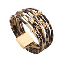 металлическая застежка оптовых-Bracelets for Women Fashion Multi-layer Leopard Pattern Leather Rope Metal Tube  Bracelet Magnetic Clasp Bangle Bracelets