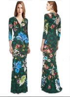 bohemia yeşil elbise toptan satış-Kadın Sonbahar Bohemia Uzatılmış Bush Yeşil Baskı V Yaka Streç Örme İnce Elbise Boyutu