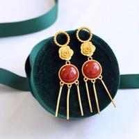 Wholesale red tassel jewelry resale online - Designer Elegant Tassel Earring Luxury jewelry S925 Silver Plated Dangle Geometric Earrings women high quality jewelry for Women Party Gift