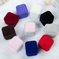 şeffaf akrilik fişler toptan satış-5 * 4.5 * 4 cm kadife mücevher kutusu yüzük kutusu küpe hediye kutusu Takı Ambalaj Ekran